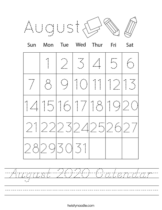 August 2020 Calendar Worksheet