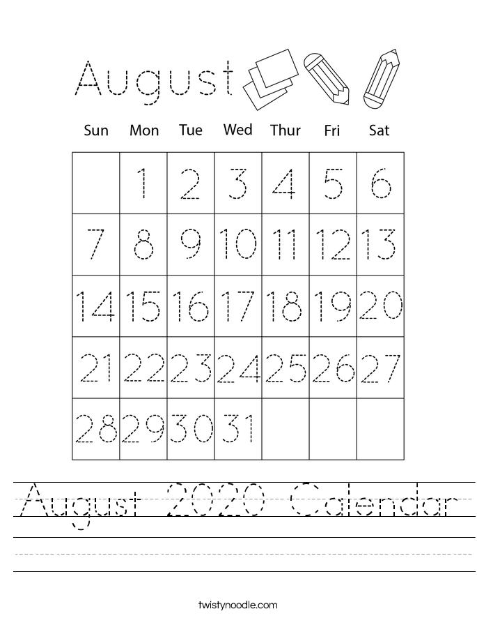 August 2020 Calendar Worksheet