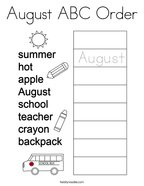 August ABC Order Coloring Page
