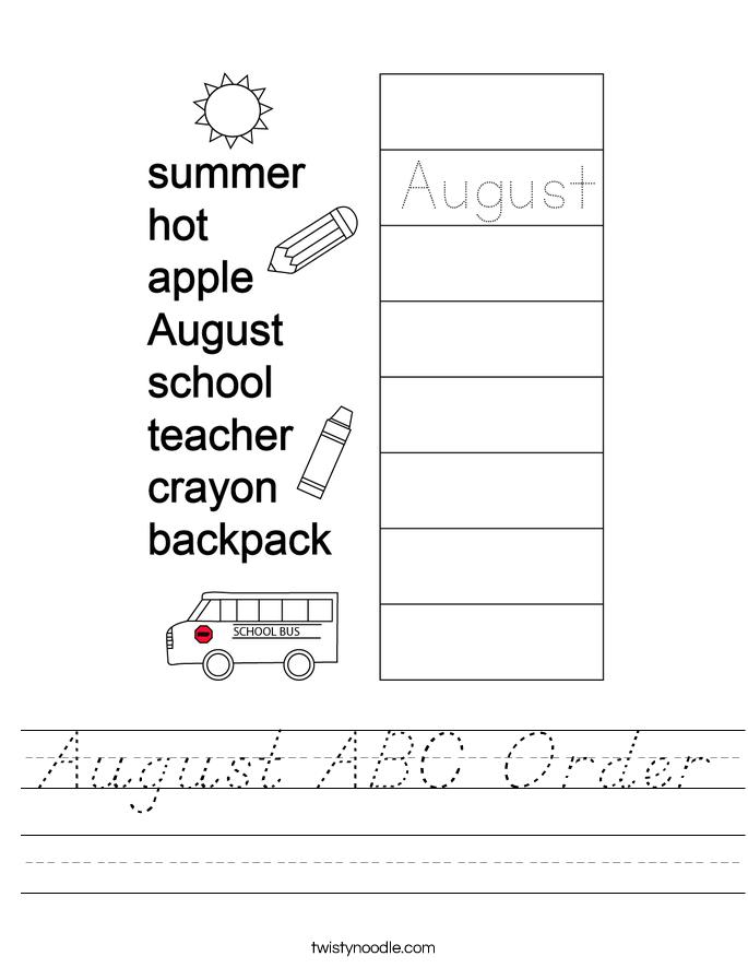 August ABC Order Worksheet