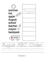 August ABC Order Handwriting Sheet