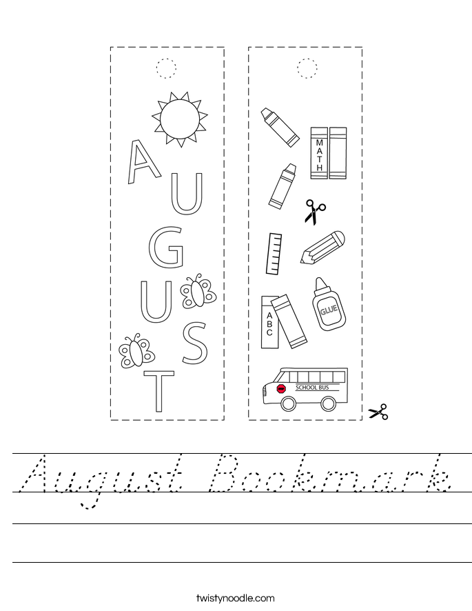 August Bookmark Worksheet