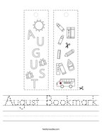 August Bookmark Handwriting Sheet