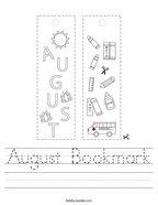 August Bookmark Handwriting Sheet