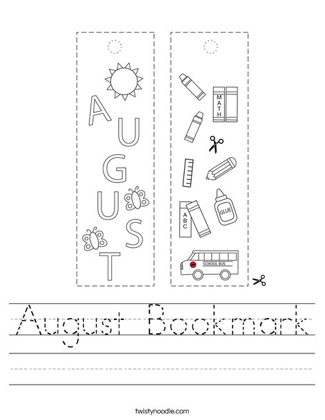 August Bookmark Worksheet