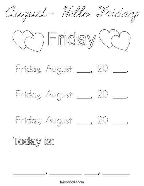 August- Hello Friday Coloring Page