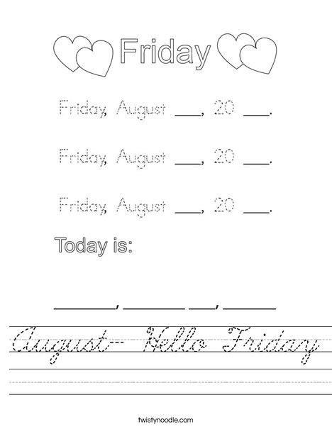 August- Hello Friday Worksheet