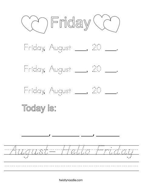 August- Hello Friday Worksheet