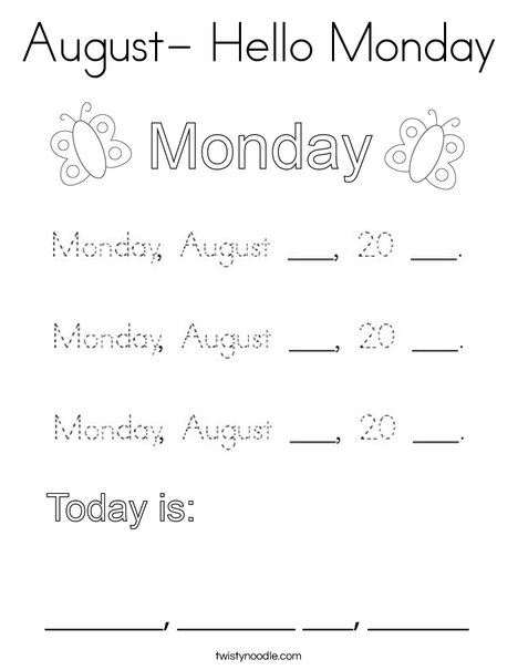 August- Hello Monday Coloring Page