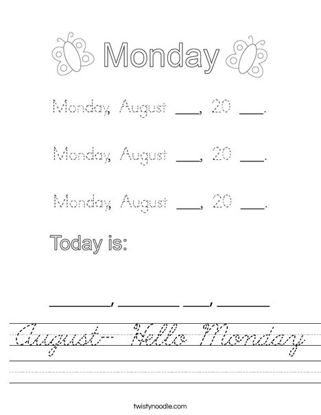 August- Hello Monday Worksheet