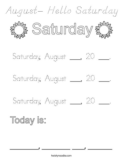 August- Hello Saturday Coloring Page