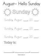 August- Hello Sunday Coloring Page