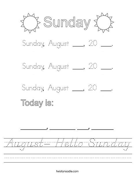 August- Hello Sunday Worksheet