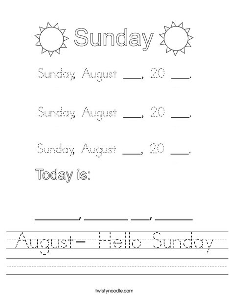 August- Hello Sunday Worksheet