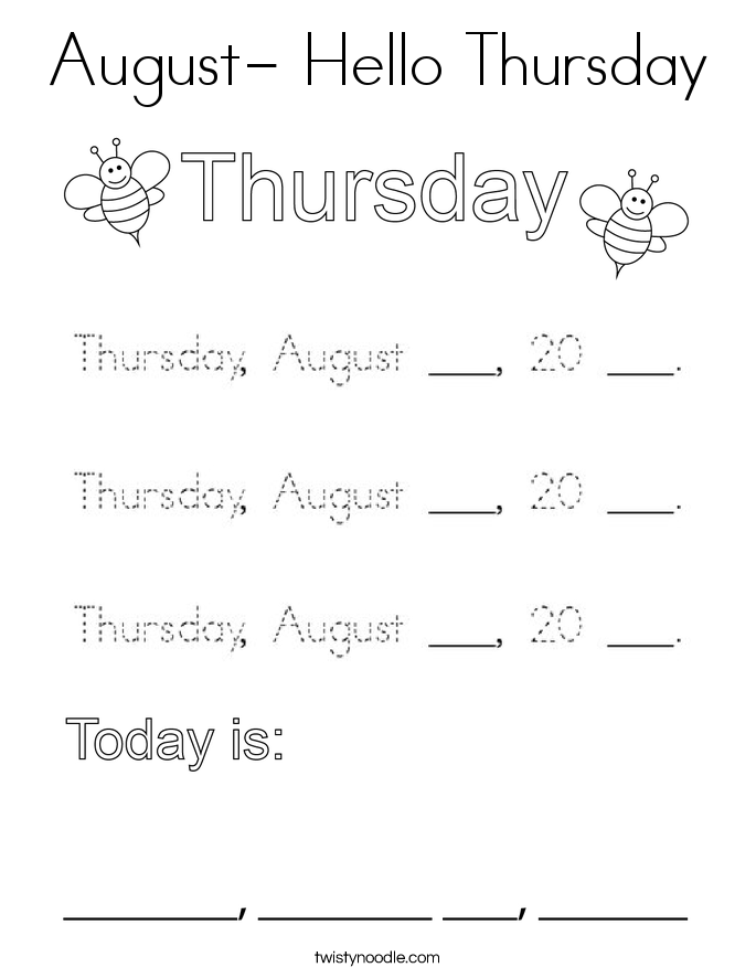 August- Hello Thursday Coloring Page