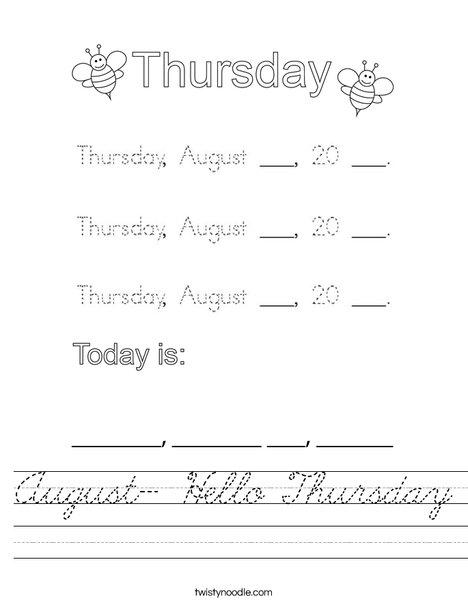 August- Hello Thursday Worksheet