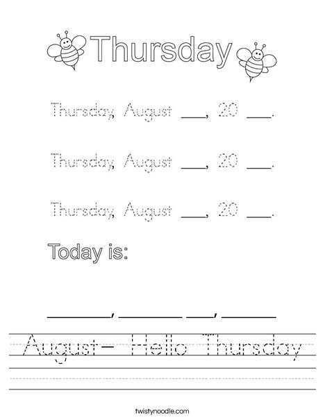 August- Hello Thursday Worksheet