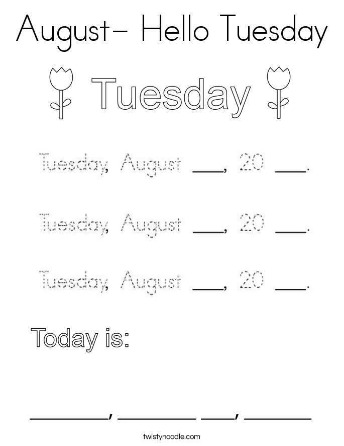 August- Hello Tuesday Coloring Page
