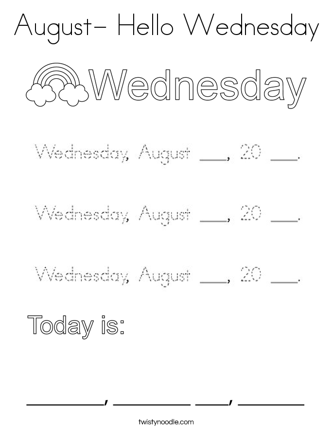 August- Hello Wednesday Coloring Page