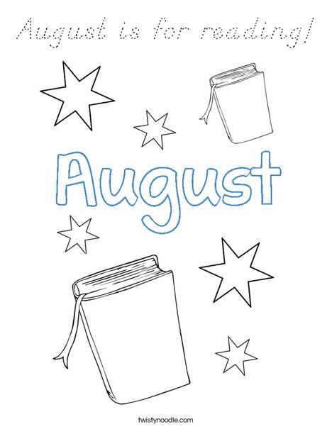 August is for reading! Coloring Page