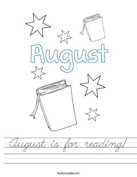 August is for reading! Worksheet