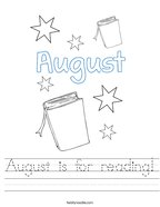 August is for reading Handwriting Sheet