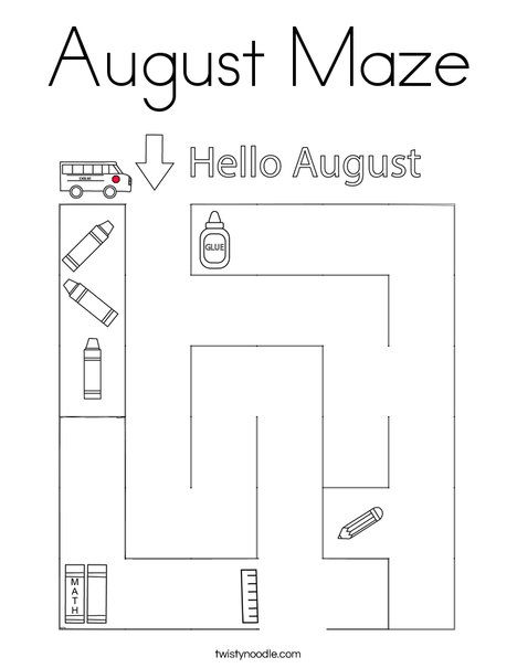 August Maze Coloring Page