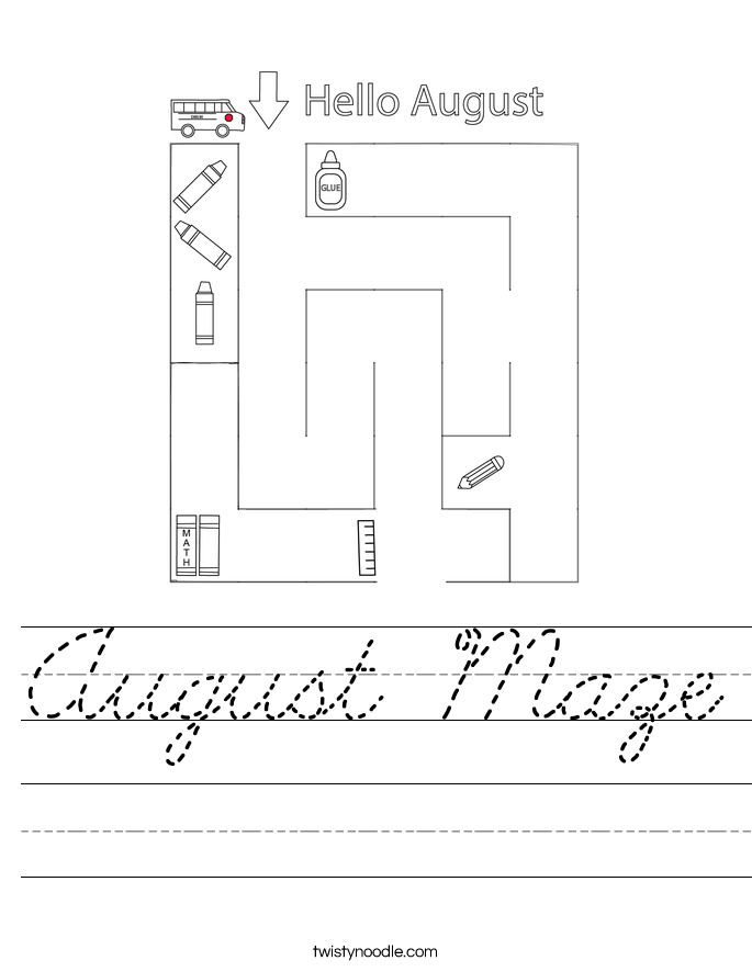 August Maze Worksheet