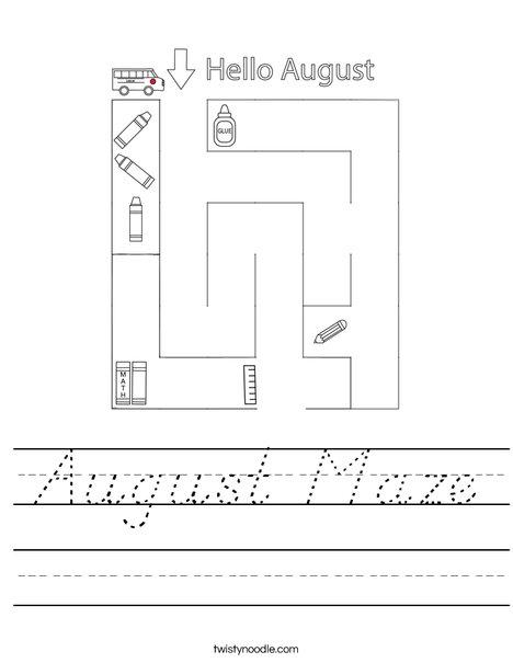 August Maze Worksheet