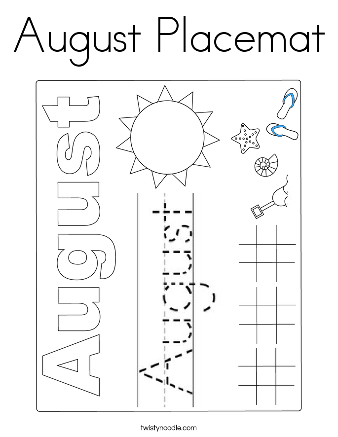 August Placemat Coloring Page