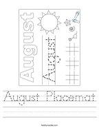 August Placemat Handwriting Sheet