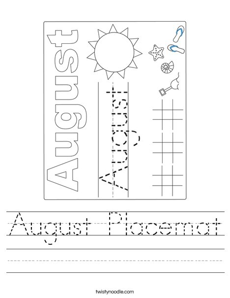 August Placemat Worksheet