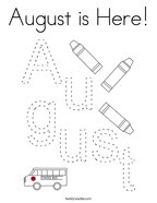 August is Here Coloring Page