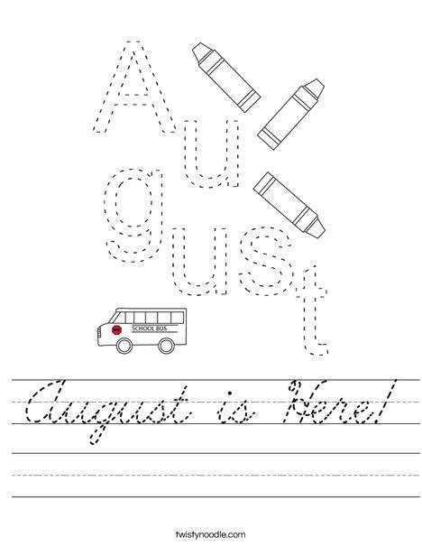 August Worksheet