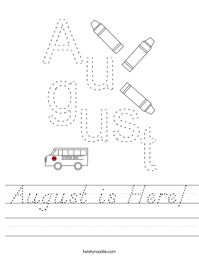 August is Here! Worksheet