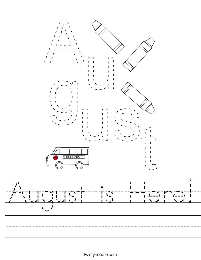 August is Here! Worksheet