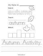Autumn Activity Handwriting Sheet