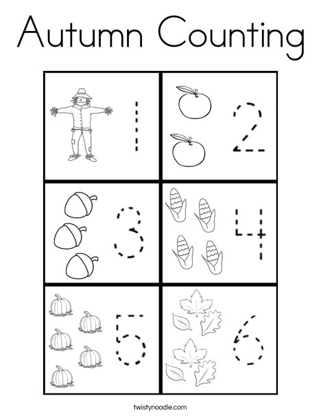 Autumn Counting Coloring Page