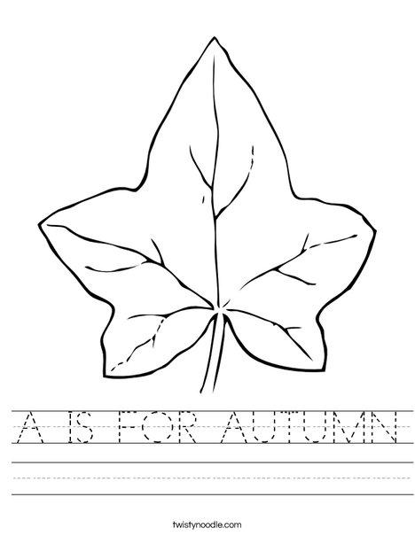 Number Names Worksheets autumn worksheet : A IS FOR AUTUMN Worksheet - Twisty Noodle