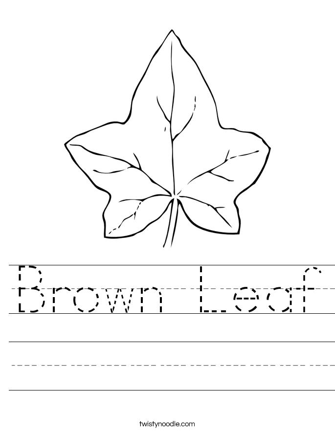 Brown Leaf Worksheet Twisty Noodle