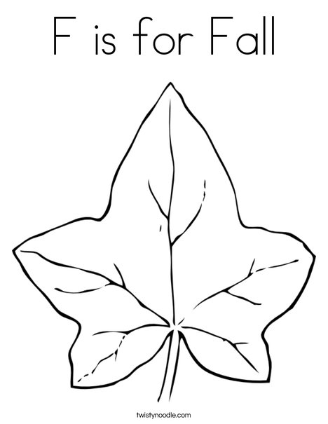 F For Fall With Coloring Page