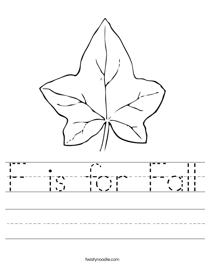 F is for Fall Worksheet Twisty Noodle – Fall Worksheets