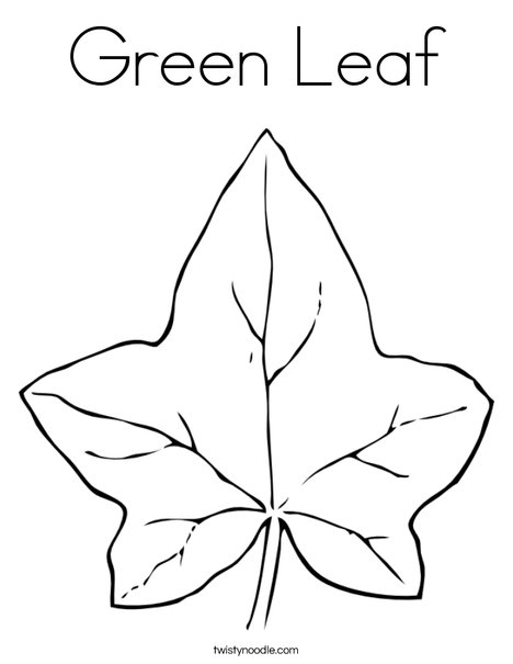 Green Leaf Coloring Page - Twisty Noodle