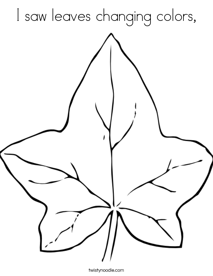 I saw leaves changing colors, Coloring Page