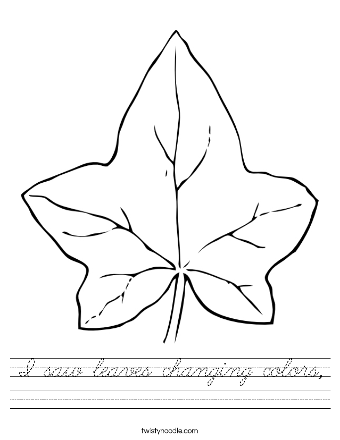 I saw leaves changing colors, Worksheet
