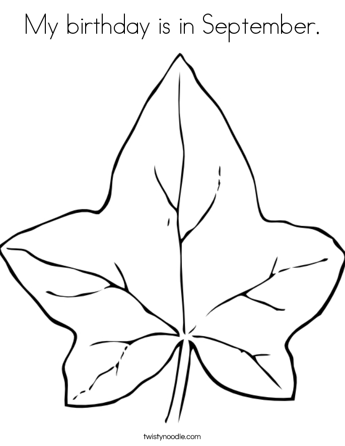 My birthday is in September. Coloring Page