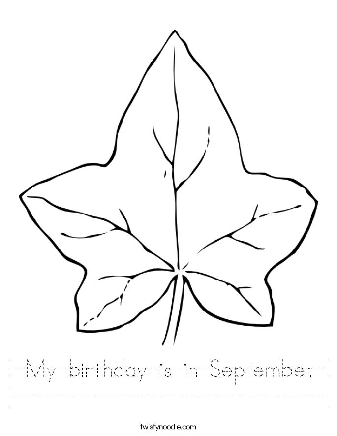 My birthday is in September. Worksheet