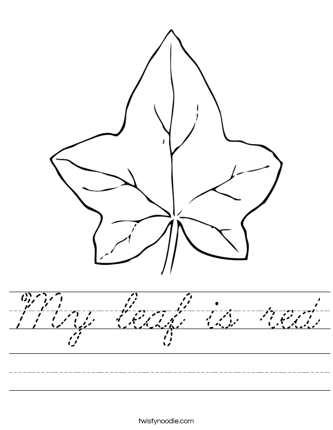 My leaf is red Worksheet