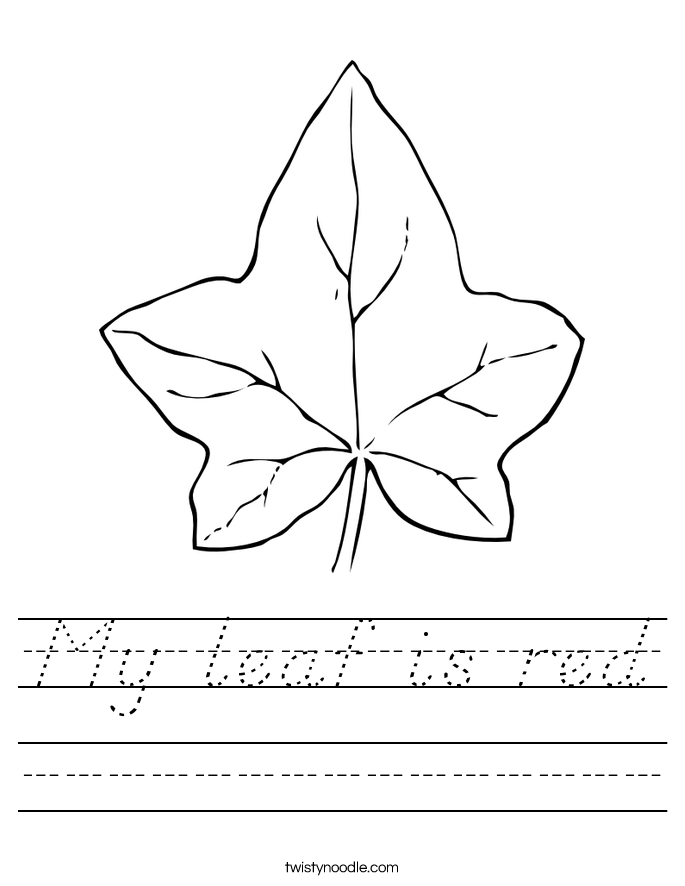 My leaf is red Worksheet