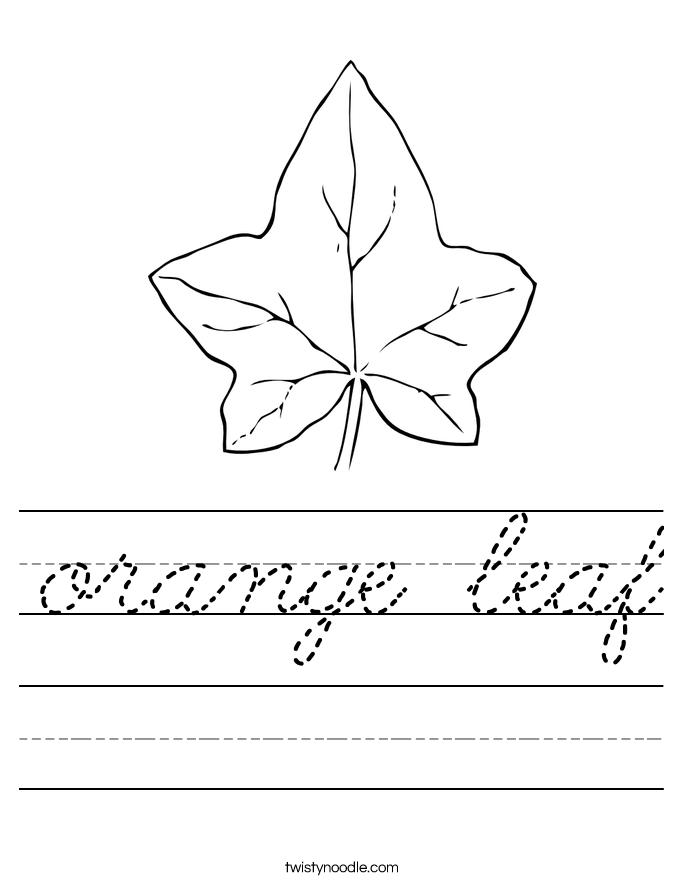 orange leaf Worksheet